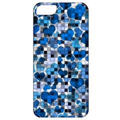 Hearts And Checks, Blue Apple iPhone 5 Classic Hardshell Case