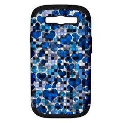 Hearts And Checks, Blue Samsung Galaxy S III Hardshell Case (PC+Silicone)
