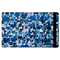 Hearts And Checks, Blue Apple iPad 3/4 Flip Case