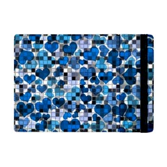 Hearts And Checks, Blue Apple iPad Mini Flip Case