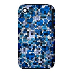 Hearts And Checks, Blue Apple iPhone 3G/3GS Hardshell Case (PC+Silicone)