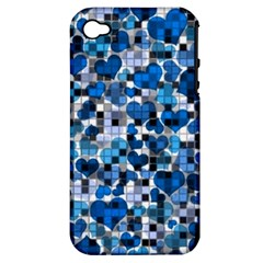 Hearts And Checks, Blue Apple iPhone 4/4S Hardshell Case (PC+Silicone)