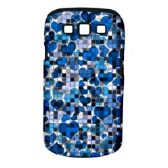 Hearts And Checks, Blue Samsung Galaxy S III Classic Hardshell Case (PC+Silicone)