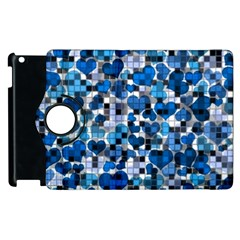 Hearts And Checks, Blue Apple iPad 2 Flip 360 Case