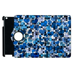 Hearts And Checks, Blue Apple iPad 3/4 Flip 360 Case