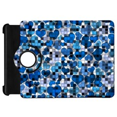 Hearts And Checks, Blue Kindle Fire HD Flip 360 Case