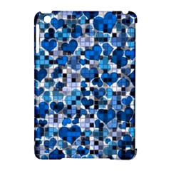 Hearts And Checks, Blue Apple iPad Mini Hardshell Case (Compatible with Smart Cover)