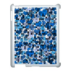 Hearts And Checks, Blue Apple iPad 3/4 Case (White)