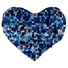 Hearts And Checks, Blue Large 19  Premium Heart Shape Cushions