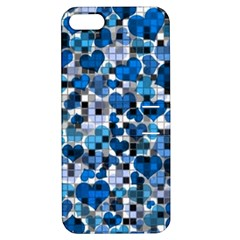 Hearts And Checks, Blue Apple iPhone 5 Hardshell Case with Stand