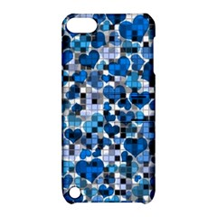 Hearts And Checks, Blue Apple iPod Touch 5 Hardshell Case with Stand