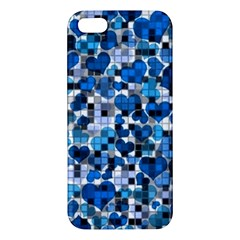 Hearts And Checks, Blue Apple iPhone 5 Premium Hardshell Case