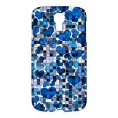 Hearts And Checks, Blue Samsung Galaxy S4 I9500/I9505 Hardshell Case