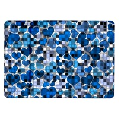 Hearts And Checks, Blue Samsung Galaxy Tab 10.1  P7500 Flip Case