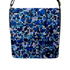 Hearts And Checks, Blue Flap Messenger Bag (L)