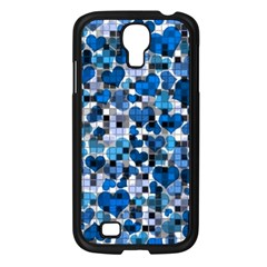 Hearts And Checks, Blue Samsung Galaxy S4 I9500/ I9505 Case (Black)