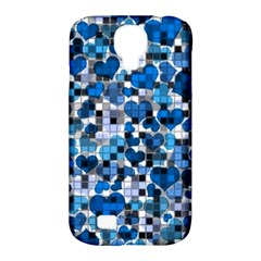 Hearts And Checks, Blue Samsung Galaxy S4 Classic Hardshell Case (PC+Silicone)