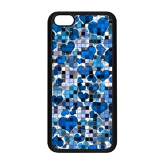 Hearts And Checks, Blue Apple iPhone 5C Seamless Case (Black)