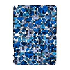 Hearts And Checks, Blue Samsung Galaxy Note 10.1 (P600) Hardshell Case