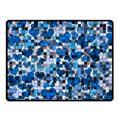 Hearts And Checks, Blue Double Sided Fleece Blanket (Small)