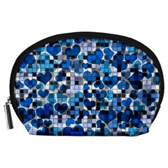Hearts And Checks, Blue Accessory Pouches (Large)