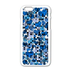 Hearts And Checks, Blue Apple iPhone 6 White Enamel Case