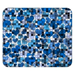 Hearts And Checks, Blue Double Sided Flano Blanket (Small)