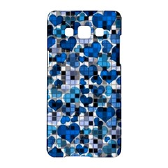 Hearts And Checks, Blue Samsung Galaxy A5 Hardshell Case