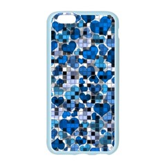 Hearts And Checks, Blue Apple Seamless iPhone 6 Case (Color)