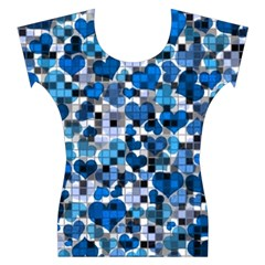 Hearts And Checks, Blue Women s Cap Sleeve Top