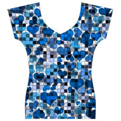 Hearts And Checks, Blue Women s V-Neck Cap Sleeve Top