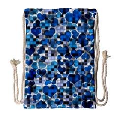 Hearts And Checks, Blue Drawstring Bag (Large)
