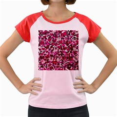 Hearts And Checks, Pink Women s Cap Sleeve T-Shirt