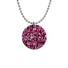 Hearts And Checks, Pink Button Necklaces