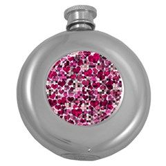 Hearts And Checks, Pink Round Hip Flask (5 oz)