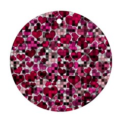 Hearts And Checks, Pink Round Ornament (Two Sides)