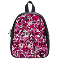 Hearts And Checks, Pink School Bags (Small)
