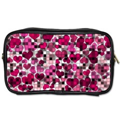 Hearts And Checks, Pink Toiletries Bags