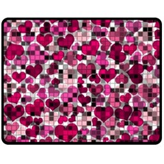 Hearts And Checks, Pink Fleece Blanket (Medium)