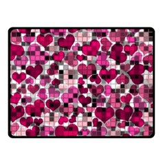 Hearts And Checks, Pink Fleece Blanket (Small)