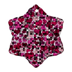 Hearts And Checks, Pink Ornament (snowflake)