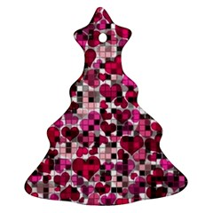 Hearts And Checks, Pink Christmas Tree Ornament (2 Sides)