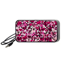 Hearts And Checks, Pink Portable Speaker (Black)