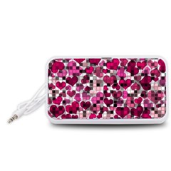 Hearts And Checks, Pink Portable Speaker (White)