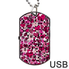 Hearts And Checks, Pink Dog Tag USB Flash (One Side)