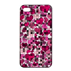 Hearts And Checks, Pink Apple Iphone 4/4s Seamless Case (black)