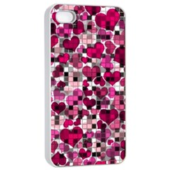 Hearts And Checks, Pink Apple iPhone 4/4s Seamless Case (White)