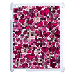 Hearts And Checks, Pink Apple iPad 2 Case (White)