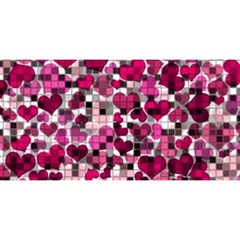 Hearts And Checks, Pink You Are Invited 3d Greeting Card (8x4)