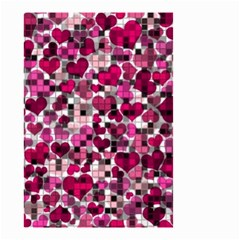 Hearts And Checks, Pink Small Garden Flag (Two Sides)